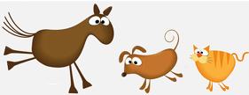 cartoon horse dog and cat