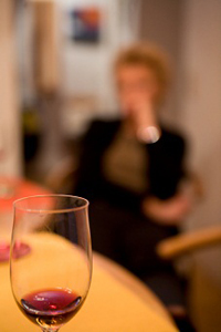 woman with red wine glass sm