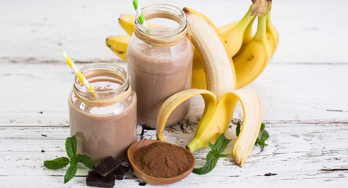 Chocolate, Banana And Coconut Protein Smoothie